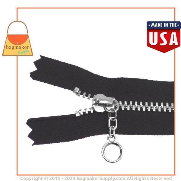 Representative Image of 10 Inch YKK Size 4 Circle Pull Metal Chain Zipper, Black with Nickel Finish Chain & Pull (ZIP-AA021))
