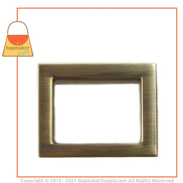 Representative Image of 1 Inch Flat Cast Rectangle Ring, Light Antique Brass / Antique Gold Finish (RNG-AA095))