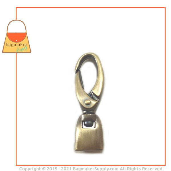 Representative Image of 1/2 Inch Flat Cord End Swivel Snap Hook, Antique Brass Finish (SNP-AA025))
