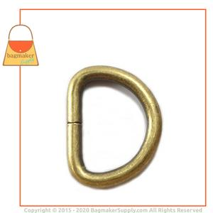 Representative Image of 1 Inch Wire Formed D Ring, Heavy, Not Welded, Antique Brass Finish