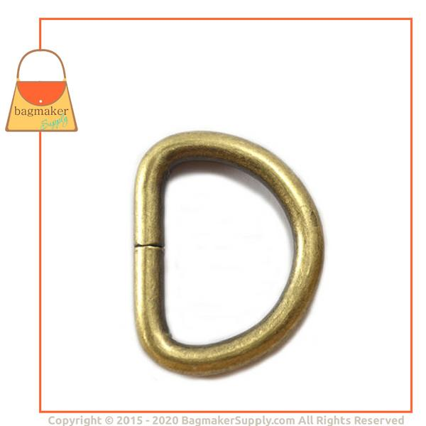 Representative Image of 1 Inch Wire Formed D Ring, 4.8 mm Gauge, Not Welded, Light Antique Brass / Antique Gold Finish (RNG-AA100))