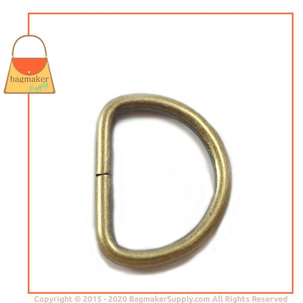 Representative Image of 1 Inch Wire Formed D Ring, Not Welded, Light Antique Brass / Antique Gold Finish (RNG-AA102))
