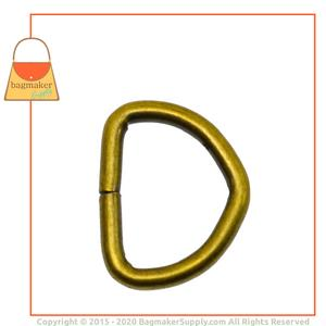 Representative Image of 7/8 Inch Wire Formed D Ring, Not Welded, Antique Brass Finish