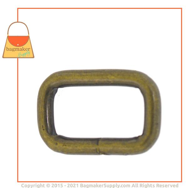 Representative Image of 3/4 Inch Wire Formed Rectangle Ring, Welded, Light Antique Brass / Antique Gold Finish (RNG-AA106))