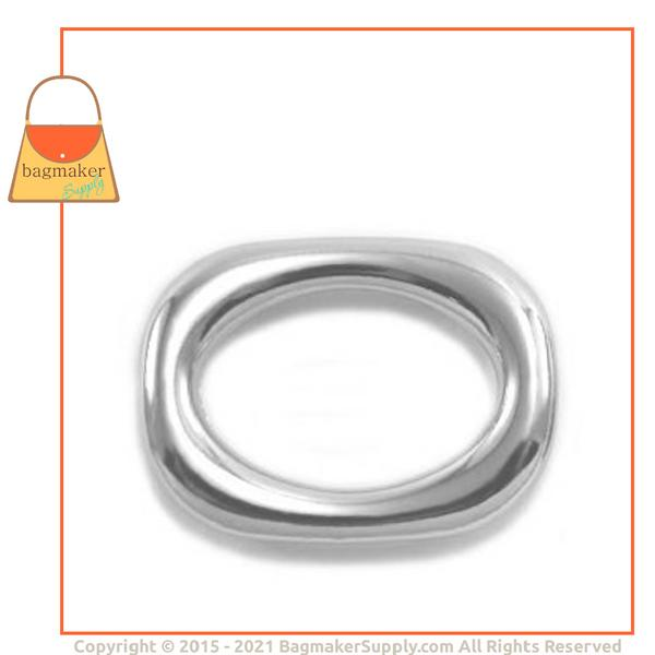Representative Image of 3/4 Inch Squared Cast Oval Ring, Nickel Finish (RNG-AA138))