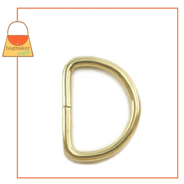 Representative Image of 1 Inch Wire Formed D Ring, 3.5 mm, Not Welded, Brass Finish (RNG-AA141))