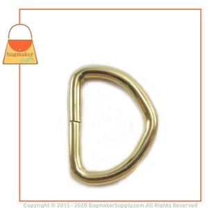 Representative Image of 3/4 Inch Wire Formed D Ring, Not Welded, Brass Finish