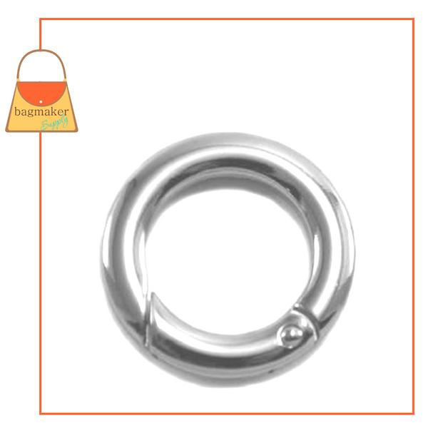 Representative Image of 3/4 Inch Cast Spring Gate Ring, Nickel Finish (RNG-AA153))