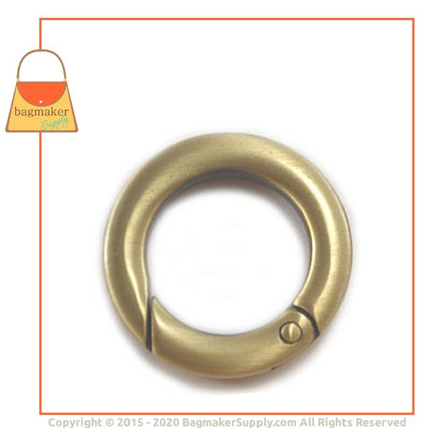 Representative Image of 3/4 Inch Cast Spring Gate Ring, Light Antique Brass / Antique Gold Finish (RNG-AA156))