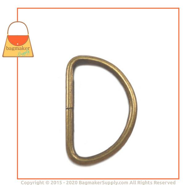 Representative Image of 1-1/2 Inch Wire Formed D Ring, Not Welded, Antique Brass Finish (RNG-AA160))
