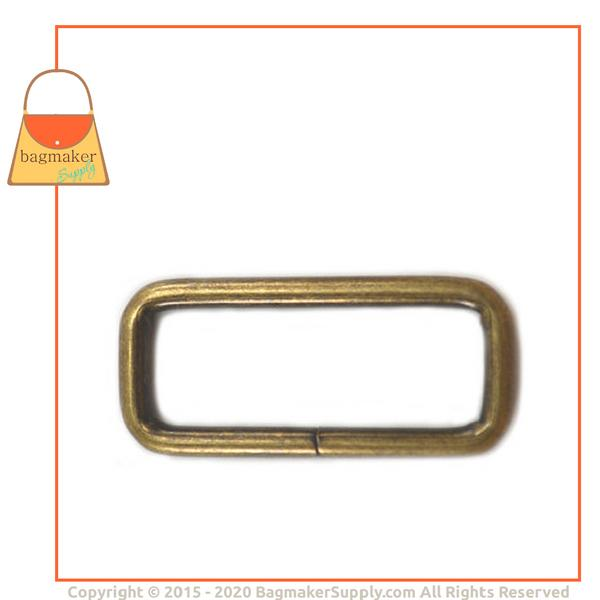 Representative Image of 1-1/2 Inch Wire Formed Rectangle Ring, Not Welded, Antique Brass Finish (RNG-AA161))