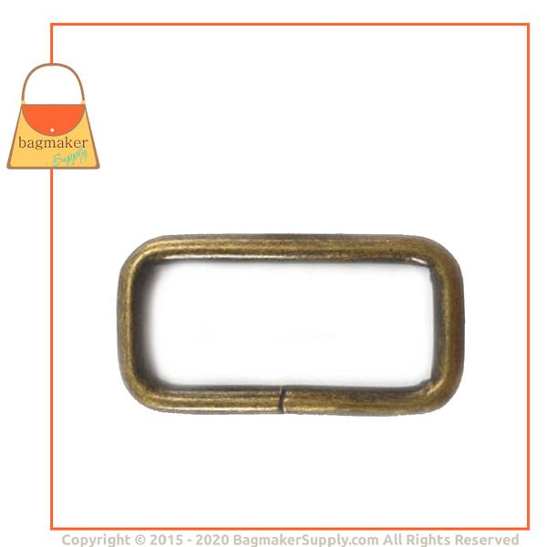 Representative Image of 1-1/4 Inch Wire Formed Rectangle Ring, Not Welded, Antique Brass Finish (RNG-AA162))