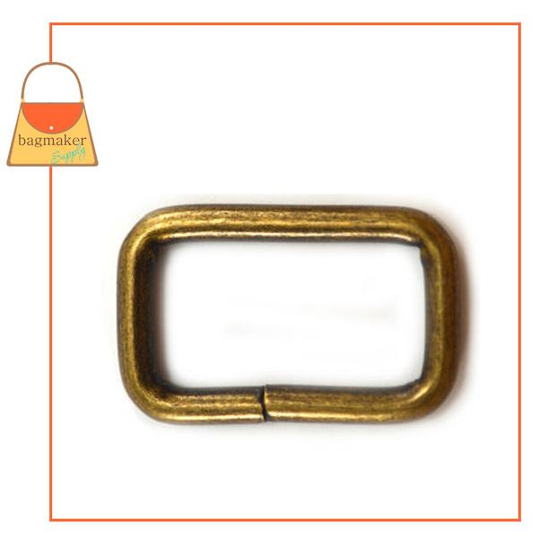 Representative Image of 1 Inch Wire Formed Rectangle Ring, 3.75 mm Gauge, Not Welded, Antique Brass Finish (RNG-AA163))