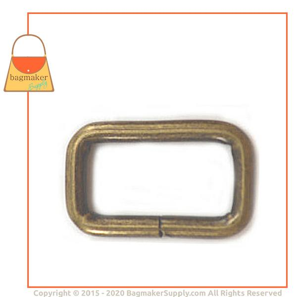 Representative Image of 3/4 Inch Wire Formed Rectangle Ring, 3 mm Gauge, Not Welded, Antique Brass Finish (RNG-AA164))