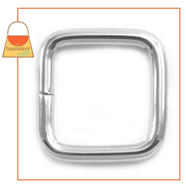 Representative Image of 1/2 Inch Wire Formed Square Ring, 2.5 mm Gauge, Not Welded, Nickel Finish (RNG-AA165))