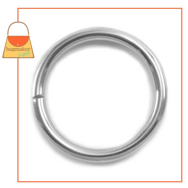 Representative Image of 1-1/4 Inch Wire Formed O Ring, 4 mm Gauge, Not Welded, Nickel Finish (RNG-AA166))