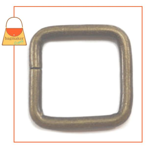 Representative Image of 1/2 Inch Wire Formed Square Ring, 2.5 mm Gauge, Not Welded, Antique Brass Finish (RNG-AA167))