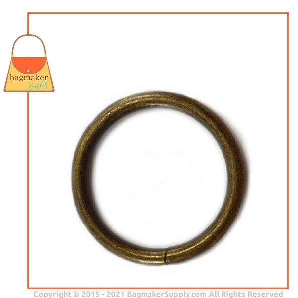 Representative Image of 1-1/4 Inch Wire Formed O Ring, 4 mm Gauge, Not Welded, Antique Brass Finish (RNG-AA168))