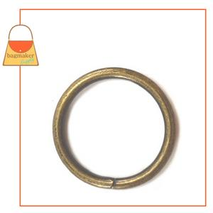 Representative Image of 1 Inch Wire Formed O Ring, Not Welded, Antique Brass Finish