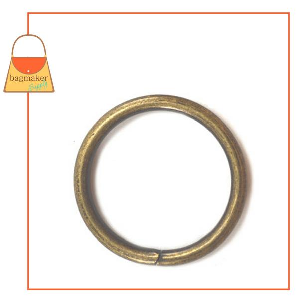 Representative Image of 1 Inch Wire Formed O Ring, 3 mm Gauge, Not Welded, Antique Brass Finish (RNG-AA169))