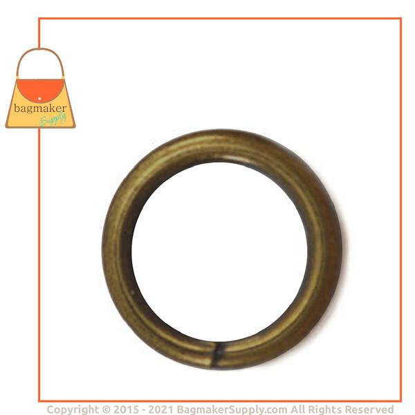 Representative Image of 1/2 Inch Wire Formed O Ring, 2.75 mm Gauge, Not Welded, Antique Brass Finish (RNG-AA174))