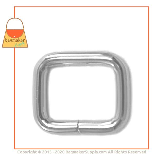 Representative Image of 5/8 Inch Wire Formed Rectangle Ring, Not Welded, Nickel Finish (RNG-AA184))