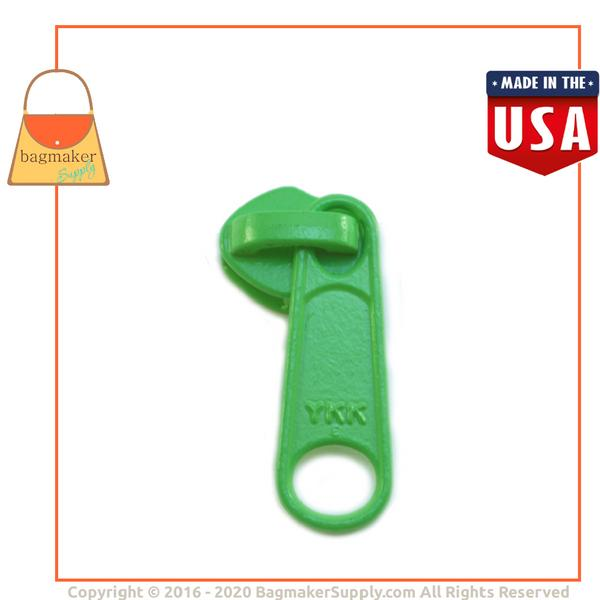 Representative Image of Size 5 YKK Long Tab Zipper Pull / Slide for Nylon Coil Zipper, Lime Green (Color # 536) (ZIP-AA216))