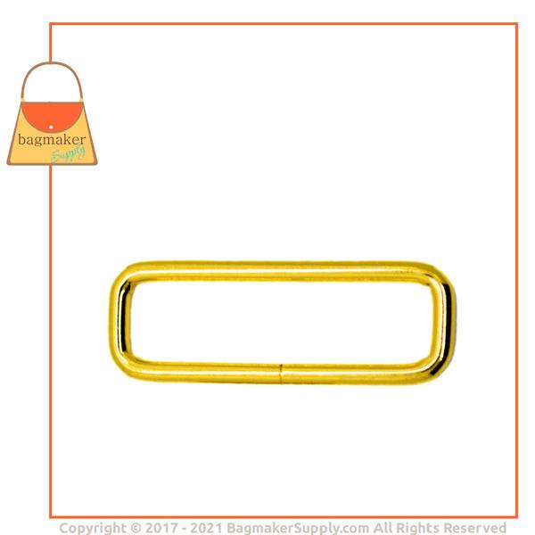 Representative Image of 2 Inch Wire Formed Rectangle Ring, Not Welded, Brass Finish (RNG-AA380))
